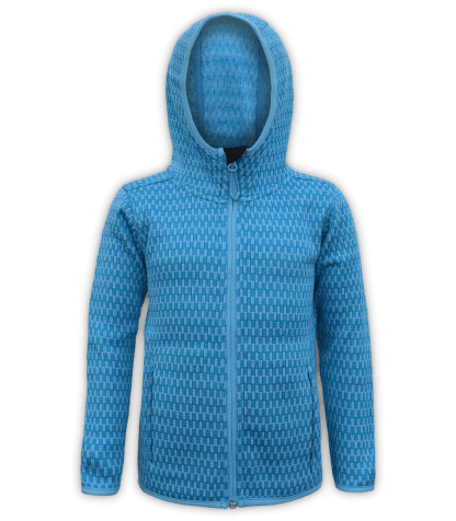 Renegade-youth-kids-full-zip-fleece-jacket-north shore-checkered-peri-blue-outdoor-jacket-soft-hood