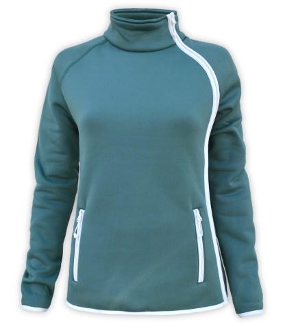 renegade club full zip fleece jacket, stylish modern side zip fleece jacket, zipper pockets, stand up collar, teal long sleeve