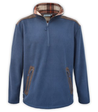 Renegade club corded fleece half zip pullover, wholesale fleece brand jacket, corduroy, plaid lining, zipper pockets, blue, denim, brown