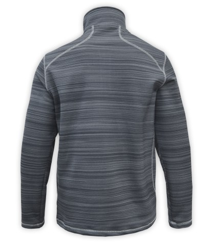 Renegade power stretch mens half zip, back view, Quarter Zip fleece pullover, stripes, stitching, gray, charcoal, white zipper