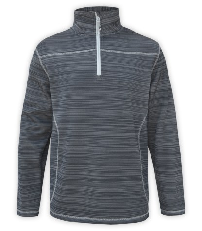 Renegade power stretch mens half zip, Quarter Zip fleece pullover, stripes, stitching, gray, charcoal, white zipper