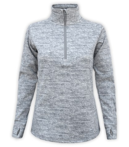 renegade club ultra soft brushed fleece pullover, women's fleece gray pullover, stand-up collar, thumbholes