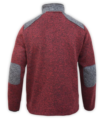 Renegade club north shore fleece jacket, color blocking, red maroon, gray, stand up collar, zipper, wholesale fleece jacket back