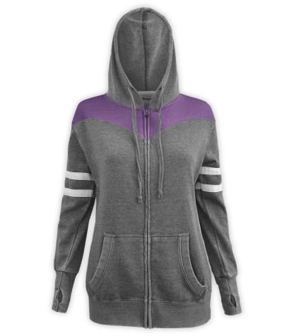 Renegade Club women's burnout fleece hoodie, full zipper fleece, white arm stripes, gray charcoal, purple, violet paneling, drawstrings