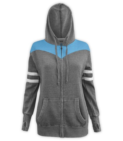 Renegade Club women's burnout fleece hoodie, full zipper fleece, white arm stripes, gray charcoal, sapphire, blue paneling, drawstrings