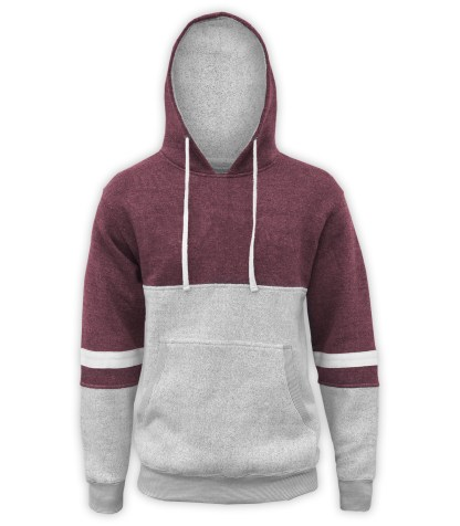 renegade club brand hoodie, blue gray white fleece pullover, nantucket fleece fabric, stripes, maroon, red, burgundy