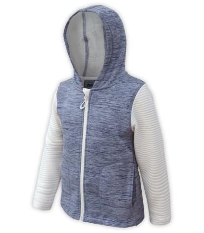 Renegade club kids club jacket, power stretch fleece, 3d fleece sleeves, blue, off white, full zipper, hood, wholesale kids fleece
