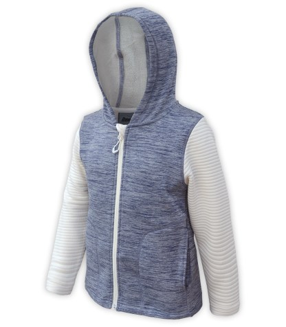 Renegade club kids club jacket, power stretch fleece, 3d fleece sleeves, blue, off white, full zipper, hood, wholesale kids fleece