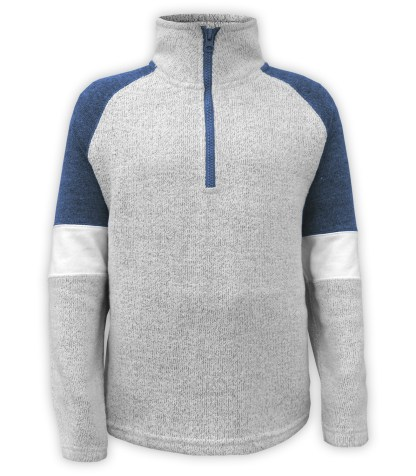 Renegade Club youth pullover, nantucket fleece soft fabric sweater, half zip, denim, blue, gray white arm bands stand up collar, wholesale pullover kids
