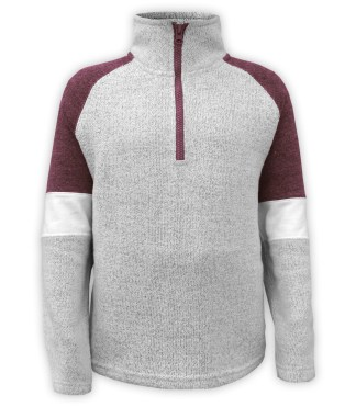 Renegade Club youth pullover, nantucket fleece soft fabric sweater, half zip, maroon, red, brown, gray, white arm bands stand up collar, wholesale pullover kids