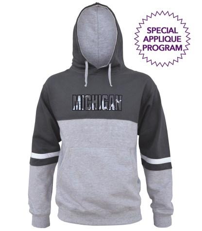 3 color hoodie fleece, applique program wholesale. lt gray, black, white stripes, unique, MICHIGAN, coastal, lighthouse, sailboats