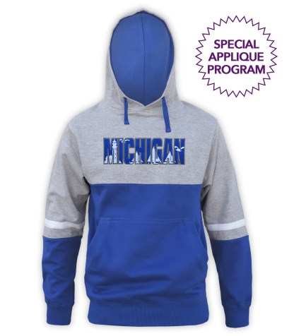 renegade tri color hoodie special applique wholesale program, fleece, lt gray, royal blue, white stripes, hoodie pullover, MICHIGAN, lighthouse, sailboats