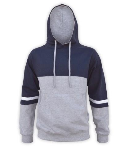 renegade tri color hoodie fleece, lt gray, navy blue, black, dark, white stripes, unique fleece hoodie pullover