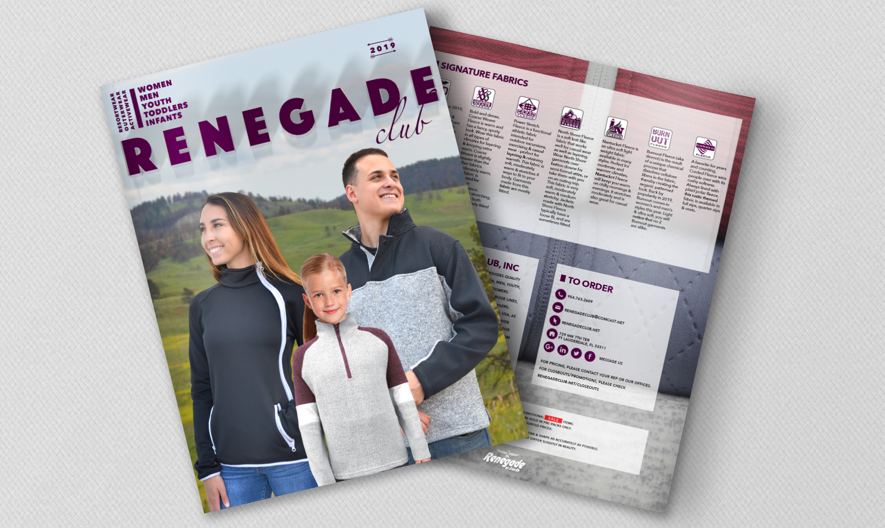 renegade club clothing wholesale catalog, 2019, men, women, kids, black jacket, gray jacket, fleece jacekts