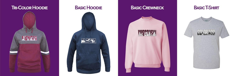 Renegade Club special applique wholesale program, basic hodies, crewneck hoodies, tshirts, tees, embroidery