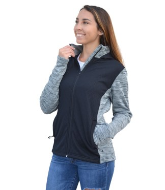 renegade club women's full zip, blanks for wholesale embroidery, embossed fleece, gray