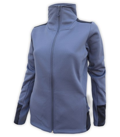 collar womens embossed fleece 2 tone full zip blank for embroidery