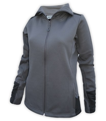 womens embossed fleece 2 tone full zip blank for embroidery