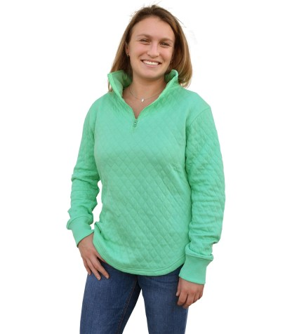womens quilted fleece, quarter zip blanks for embroidery wholesale, renegade club honeydew