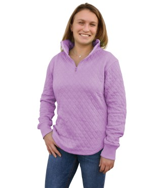 womens quilted fleece, quarter zip blanks for embroidery wholesale, renegade club purple