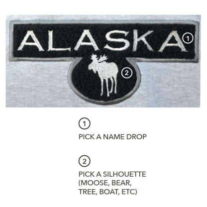 custom name drop applique hoodie, wholesale embroidery blanks alaska moose