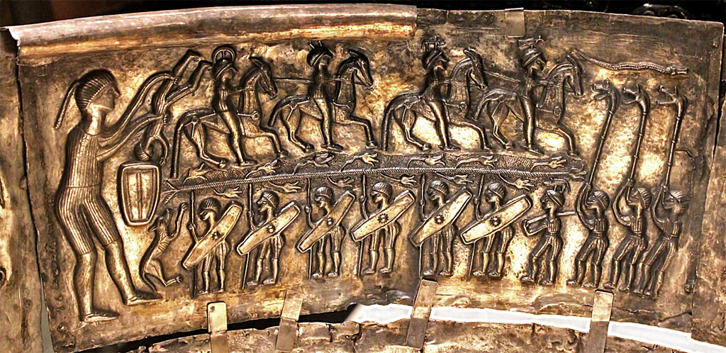 The Gundestrup Cauldron shows Celtic warriors being ritually dunked into the cauldron of rebirth