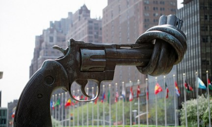 """The """"Non-Violence"""" (or """"Knotted Gun"""") A gift from the Government of Luxembourg presented to the United Nations in 1988. It consists of a large replica in bronze of a 45-calibre revolver, the barrel of which is tied into a knot. It was created in 1980 as a peace symbol by artist Karl Fredrik Reutersward, and is located in the Visitor's Plaza, facing First Avenue at 45th Street. Weaponasart"""