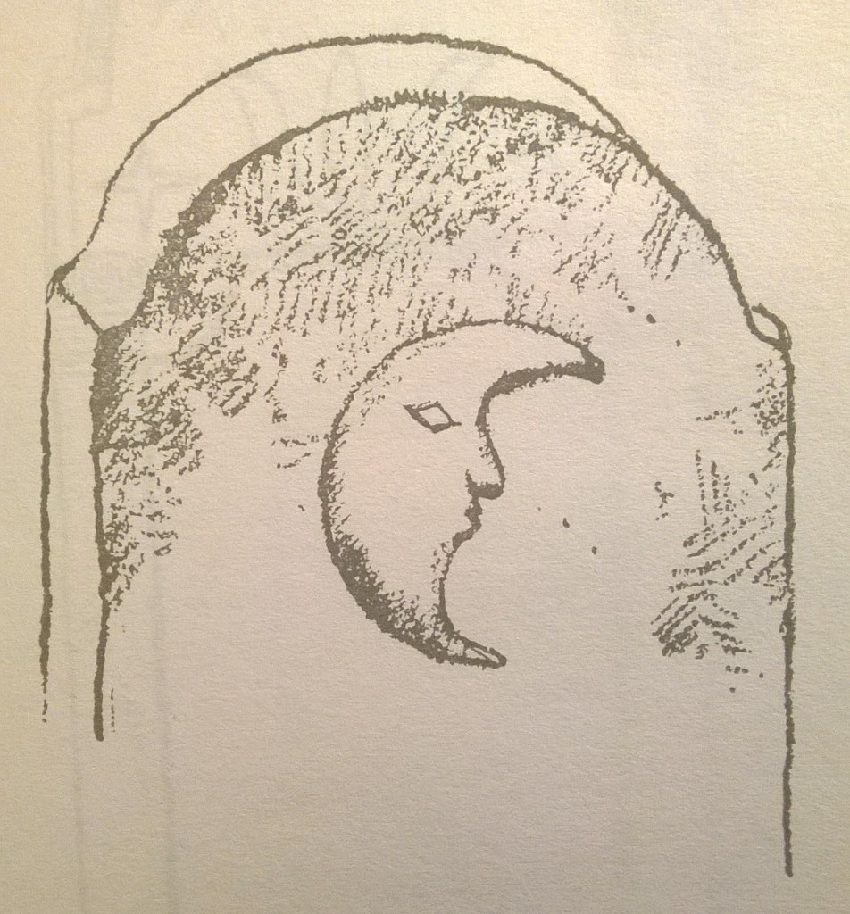 p. 171; A waning moon with face done in rounded relief is the only adornment on this tombstone without date or inscription.
