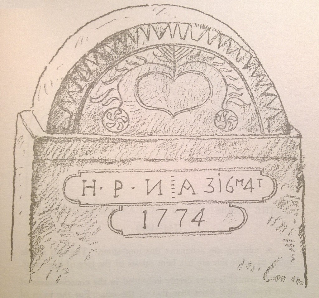 p. 215; From a heart, under an arch with saw-tooth edge, springs a tree of life, primitive in design. Pendants of the two drooping branches are sun-wheels containing each a five-lobed swastika. This oldest and most universal of all sun symbols occurs infrequently on Pennsylvania German tombstones.