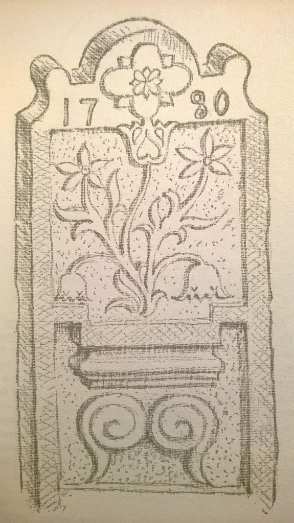 p. 93; At the head of the stone a quatrefoil sunburst for which the stone-cutter seems to have had a preference. The upper half of the panel is adorned with a five-branched tree of life, free in treatment and again with drooping lower branches (cf. 89, 115, 181). Especially interesting are the spirals below an architectural detail in the lower half of the panel. Such spirals are common in the folk art of the Nordic races and are symbolical of the sun's journey from the winter solstice (when the earth is in aphelion) up to the summer solstice (perihelion) and its descending course in the second half of the year.
