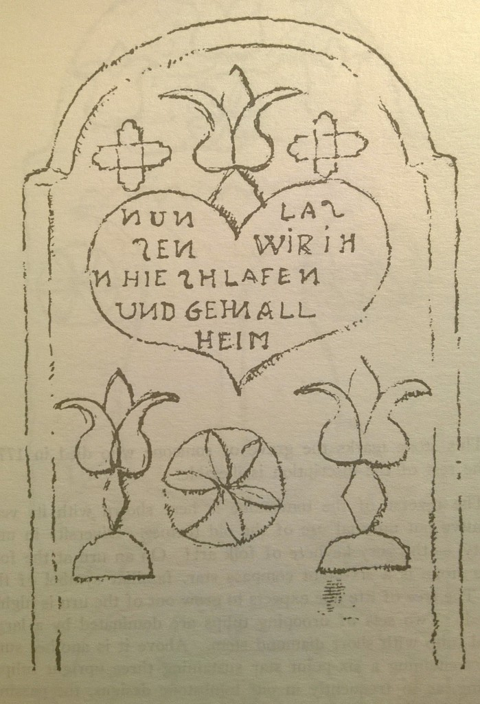 p. 75; The decorations shown here are on the reverse side of the tombstone. Observe the lower 6-point compass star within a circle as sun symbol. On either side is a tree-of-life motif, a tulip growing out of the ancient sun arc, or ur-bogen, with diamond-shaped stem. The diamond occurs frequently in illuminations as an age-old symbol of the birth-giving feminine. From out of the heart, also a symbol of motherhood, grows a tulip.