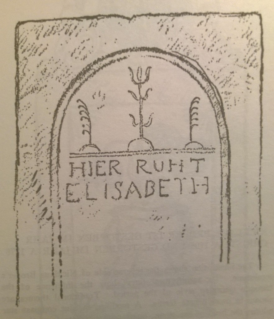 p. 111; The illustration shows only the simple design under the arch at its head. It consists of three trees of life, each growing out of the ur-bogen, or lowest arc the sun describes against the sky at the time of the winter solstice, thence to rise upon its new course.