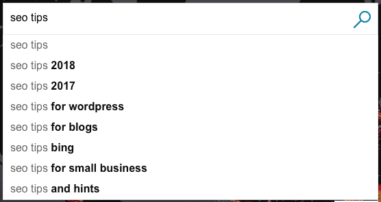 Bing auto suggest