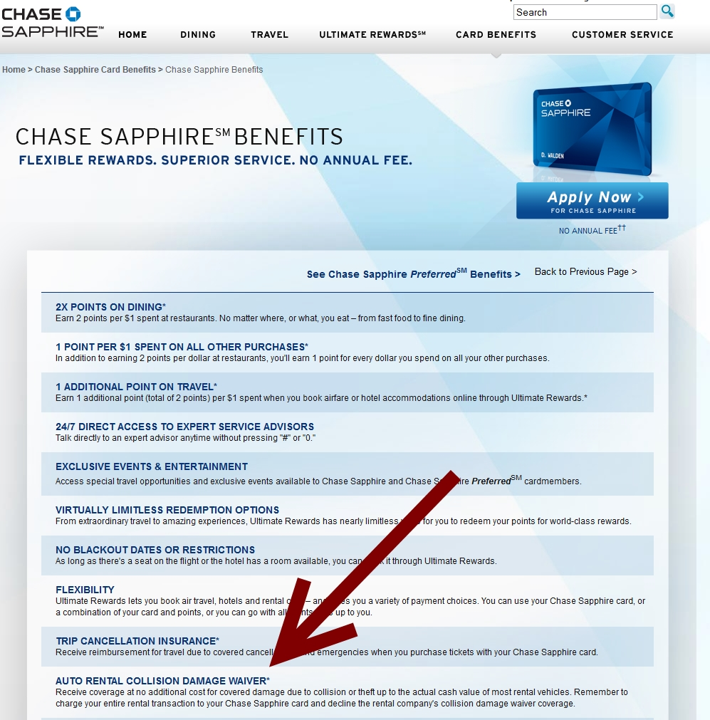 Chase Sapphire Preferred Reserve Benefits Rental Car