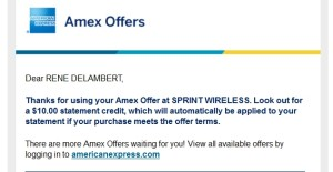 amex credit for sprint payment