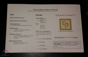 diamond amenity choices at checkin grand hyatt dfw renes points blog review