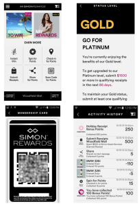 shot of the simon mall app for simon points