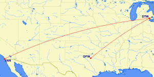 DFW-DTW-SAN March Mileage Run RouteMap