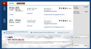 Phoenix to New York (JFK) Delta Booking Weekday