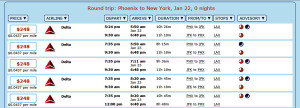 Phoenix to New York (JFK) Flight Alternatives January 22, 2016 (Click for Details)