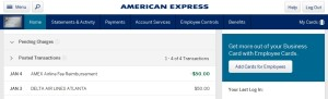 amex platinum business airline fee reimbursment posted for delta egift card