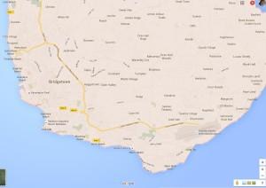 map of southwest barbados from google for radisson barabados
