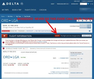 much more info about changes but did NOT click accept or change flight on delta-com