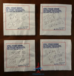 will you complain to delta on their napkins - you should