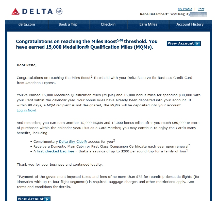 Reminders about how to claim your 15,000 bonus Delta / AMEX Reserve ...