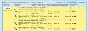 LAX-SJU Feb Mar 2016 Schedule