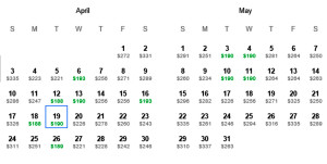 Miami MIA to Los Angeles LAX Delta Mileage Run April 2016 laptoptravel Calendar