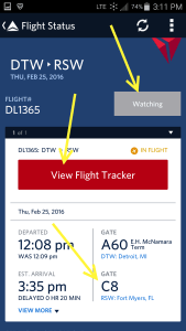 Use Fly Delta APP to track inbound airplane and arrival gate and time renespoints blog (4)