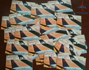 a huge pile of delta air lines hoou coupons