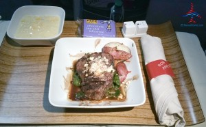 delta steak and potatoes 1st class dinner renespoints blog